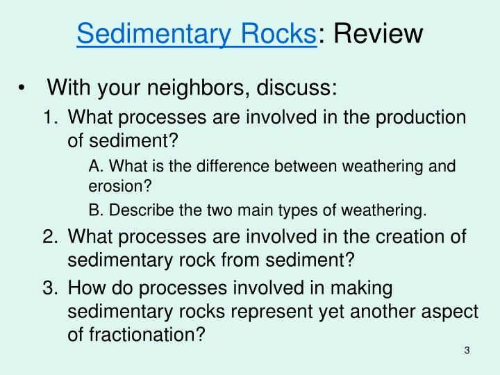 Sedimentary rocks review