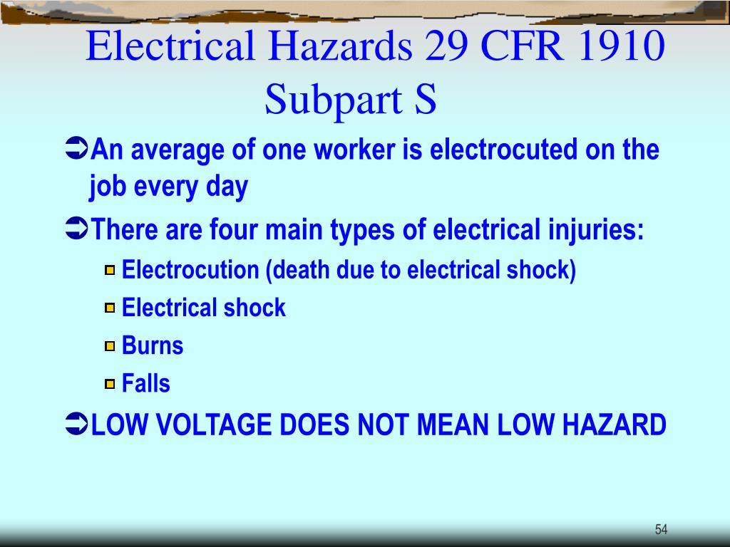 Electrical Hazards 29 CFR 1910