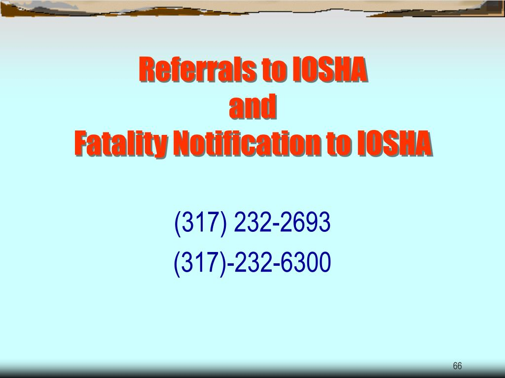 Referrals to IOSHA