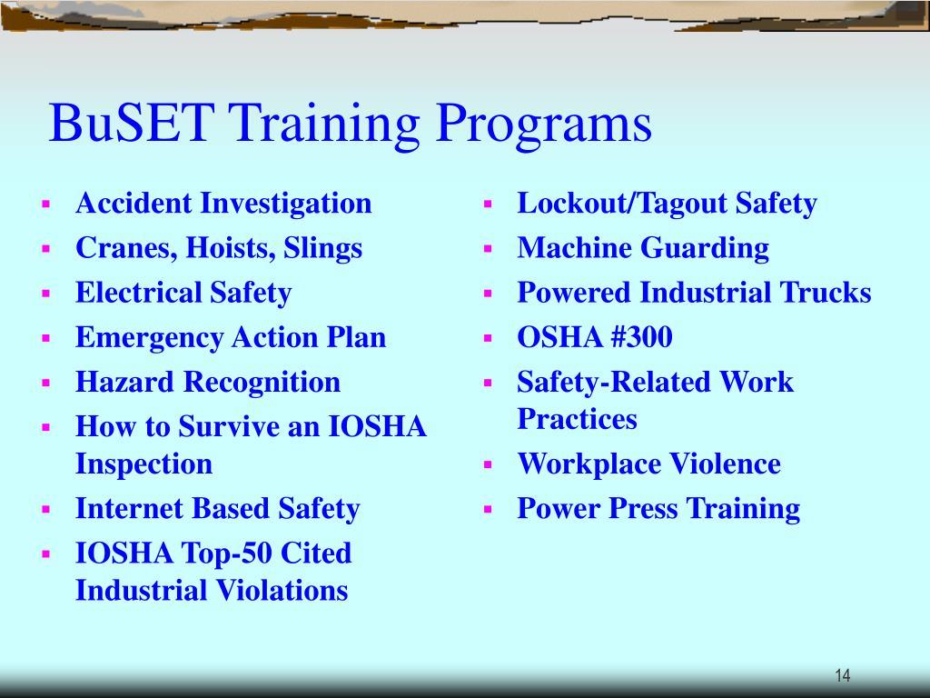 BuSET Training Programs