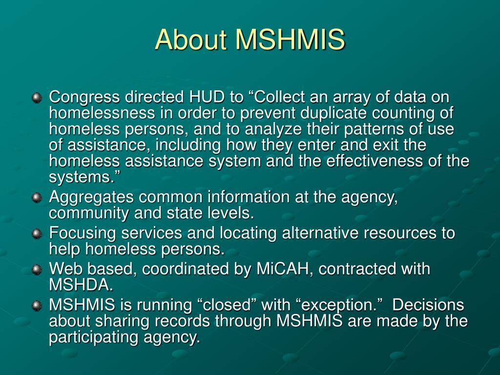 About MSHMIS