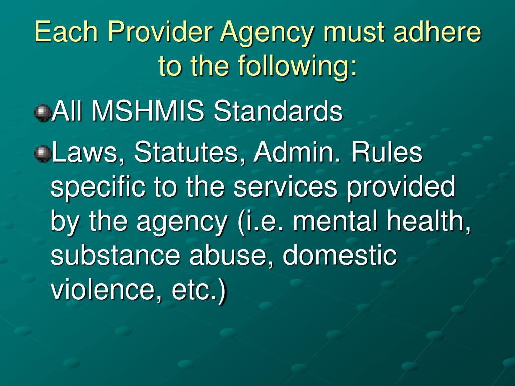 Each Provider Agency must adhere to the following: