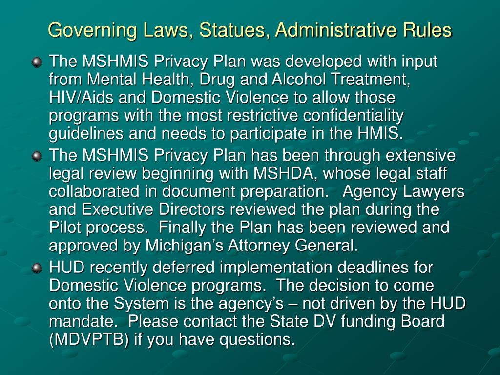 Governing Laws, Statues, Administrative Rules