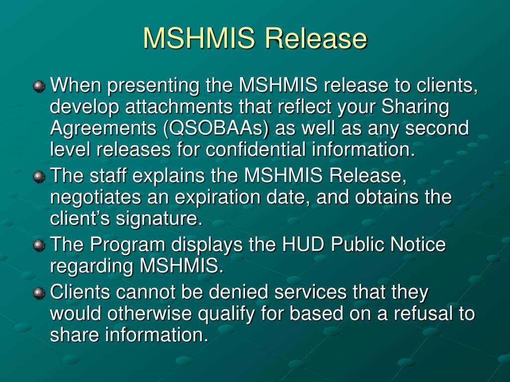 MSHMIS Release