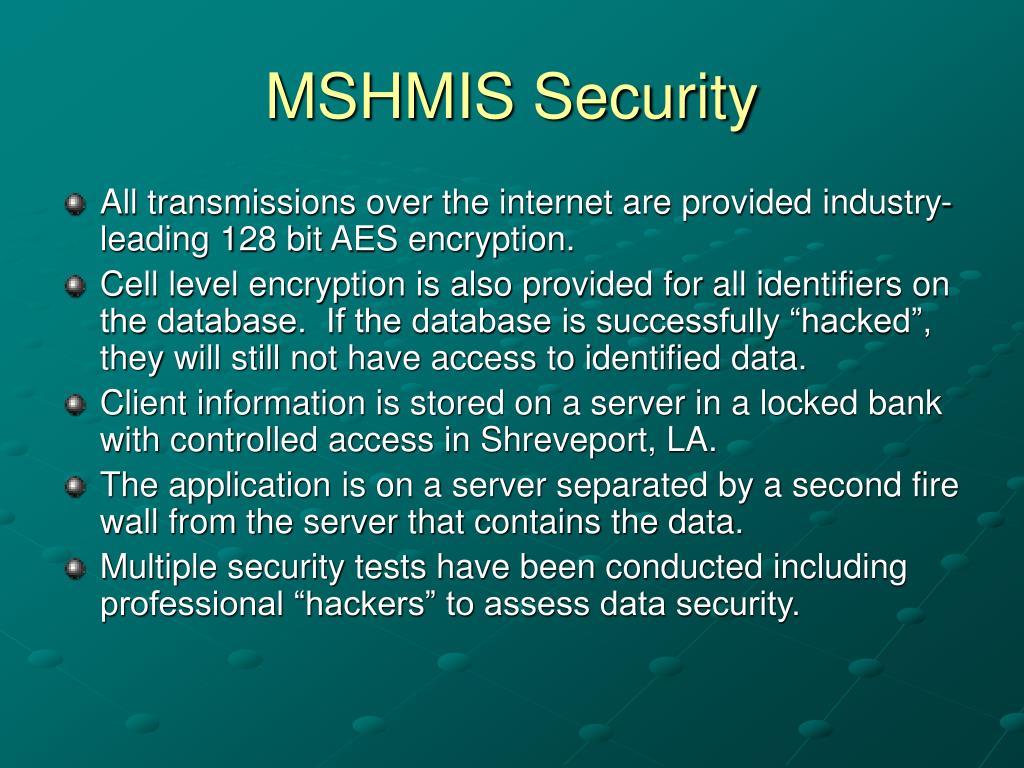 MSHMIS Security