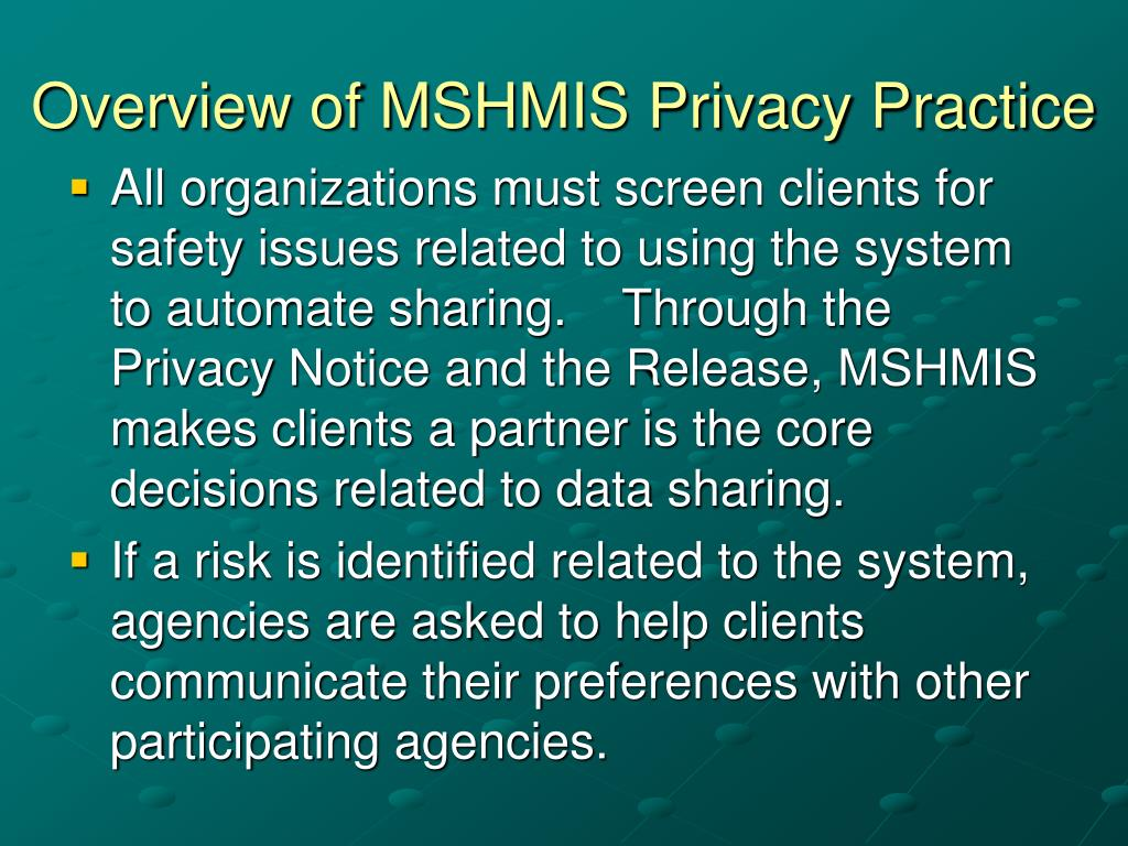Overview of MSHMIS Privacy Practice