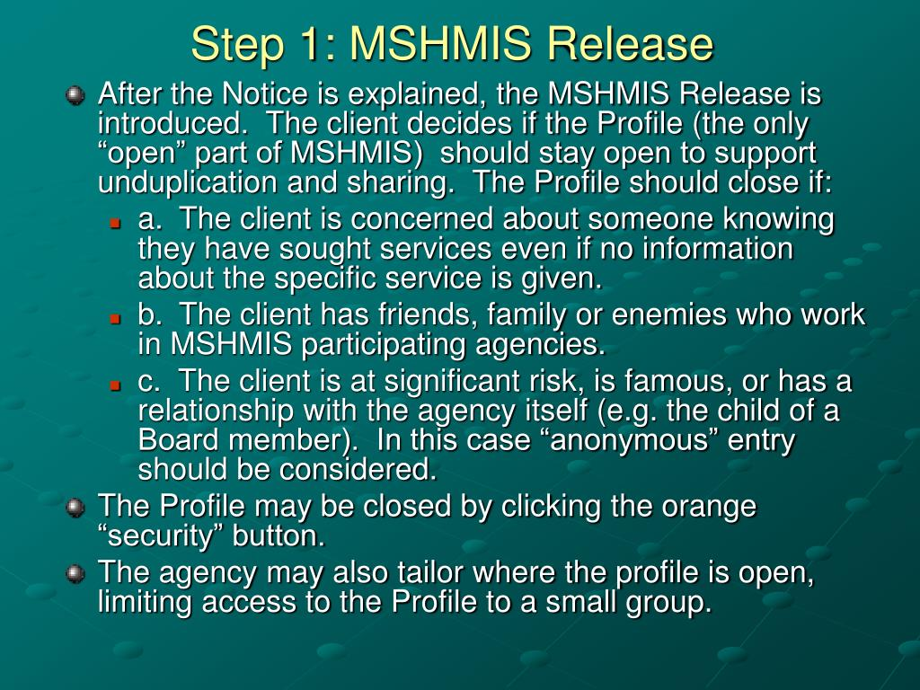 Step 1: MSHMIS Release