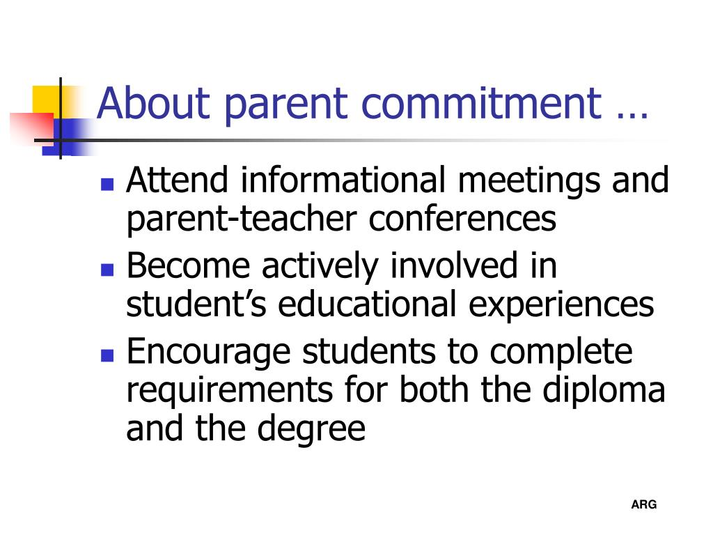 About parent commitment …