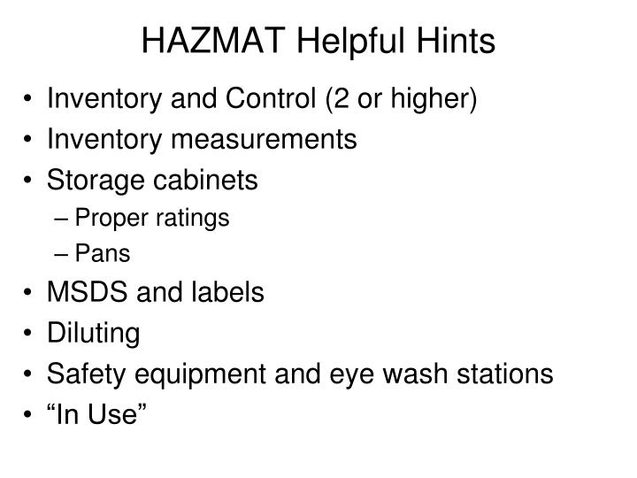 HAZMAT Helpful Hints