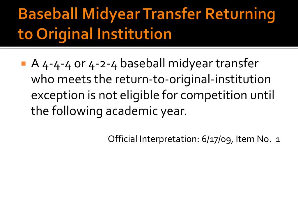Baseball Midyear Transfer Returning to Original Institution