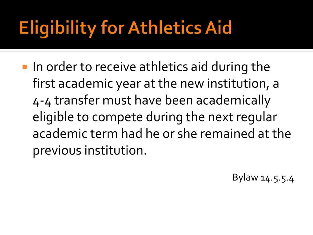 Eligibility for Athletics Aid