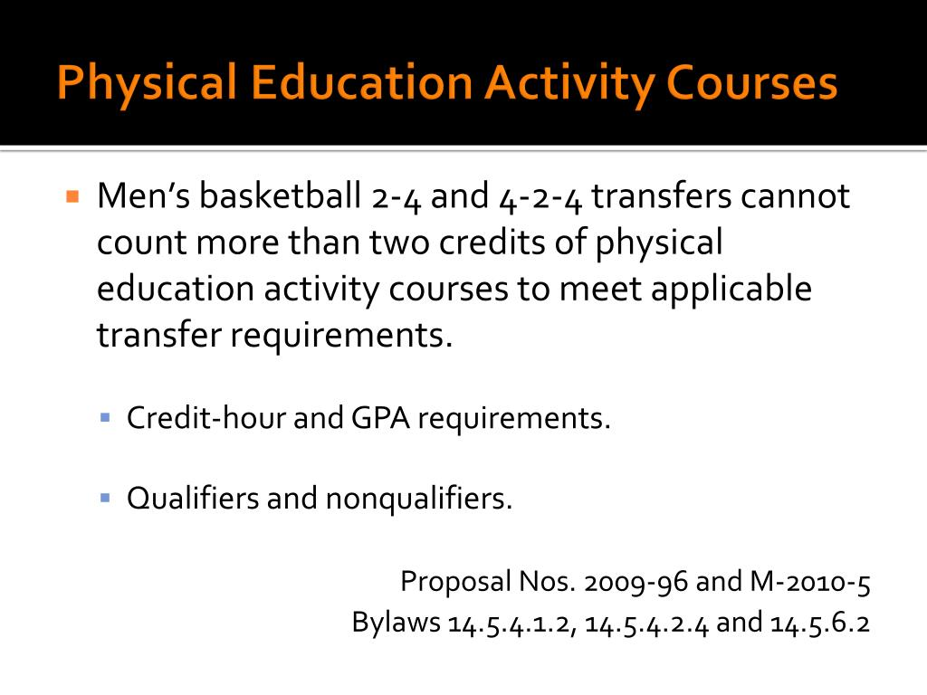 Physical Education Activity Courses