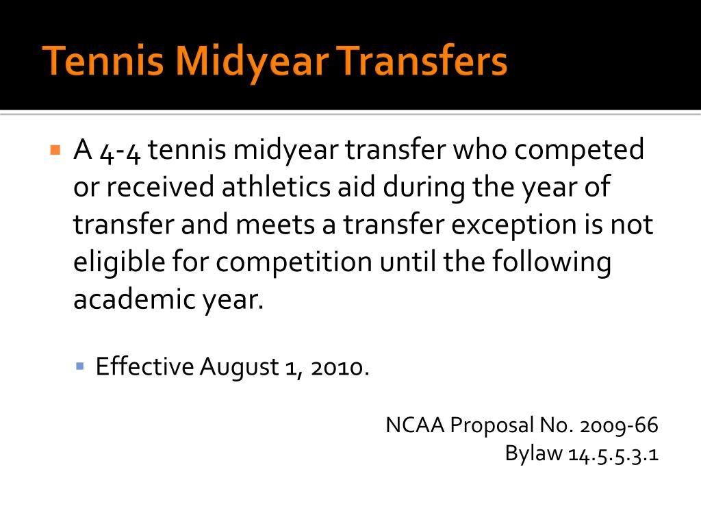 Tennis Midyear Transfers
