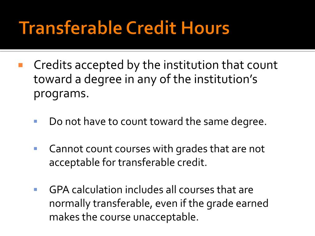 Transferable Credit Hours