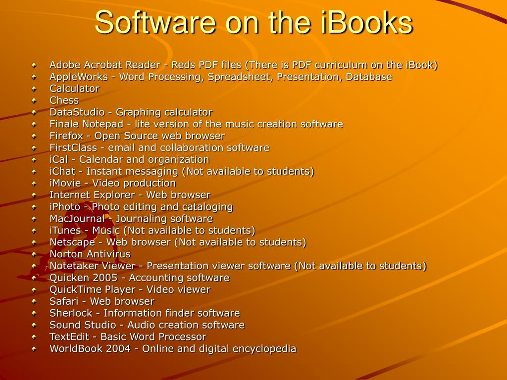 Software on the iBooks