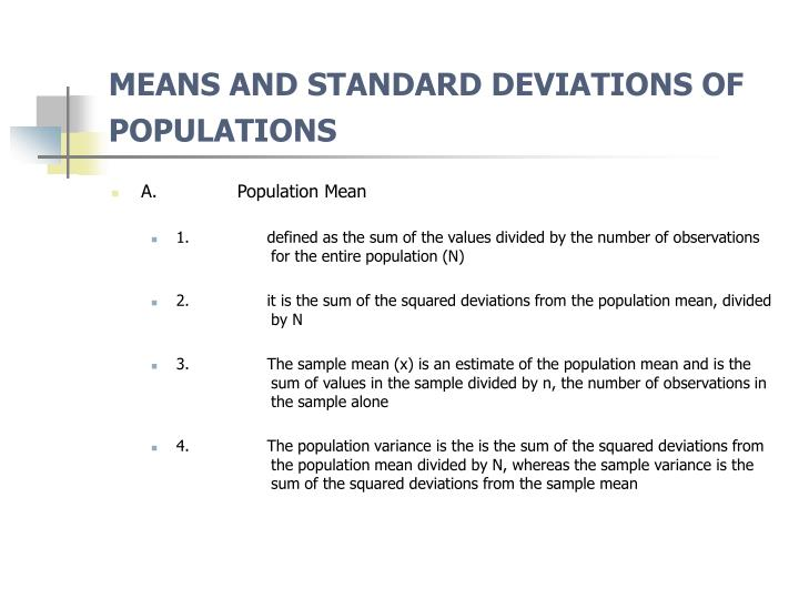 MEANS AND STANDARD DEVIATIONS OF POPULATIONS
