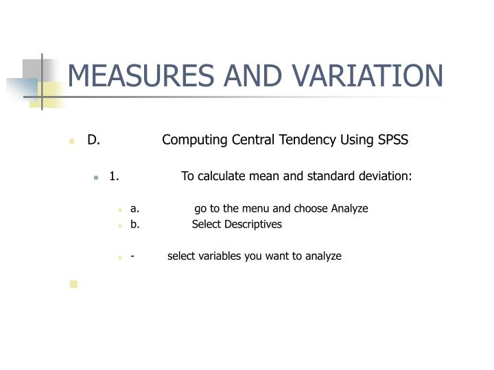 MEASURES AND VARIATION