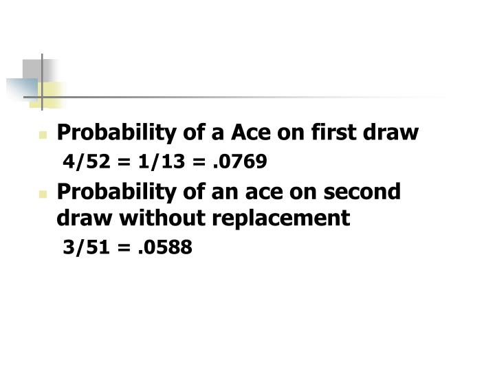 Probability of a Ace on first draw