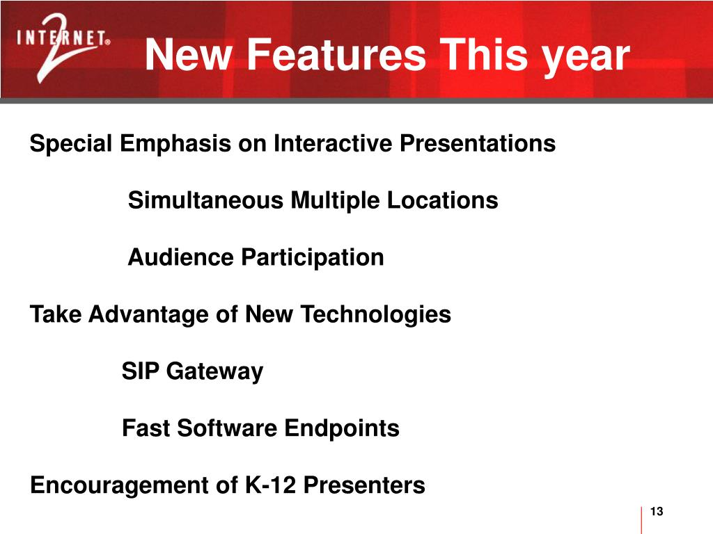 New Features This year