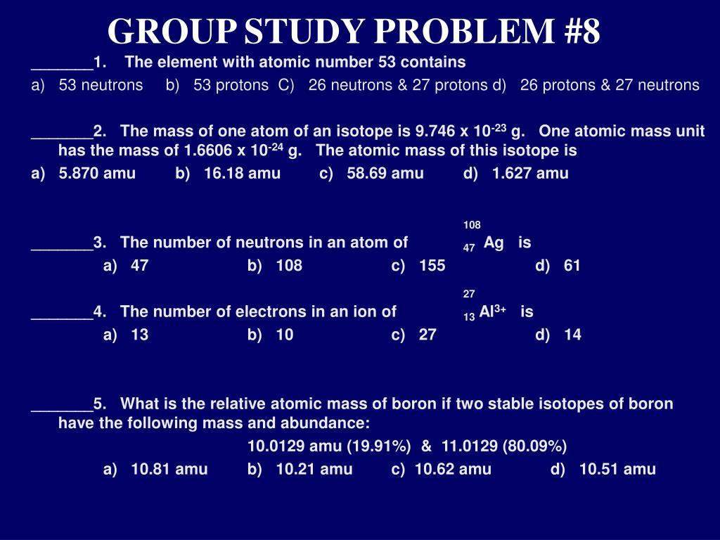 GROUP STUDY PROBLEM #8