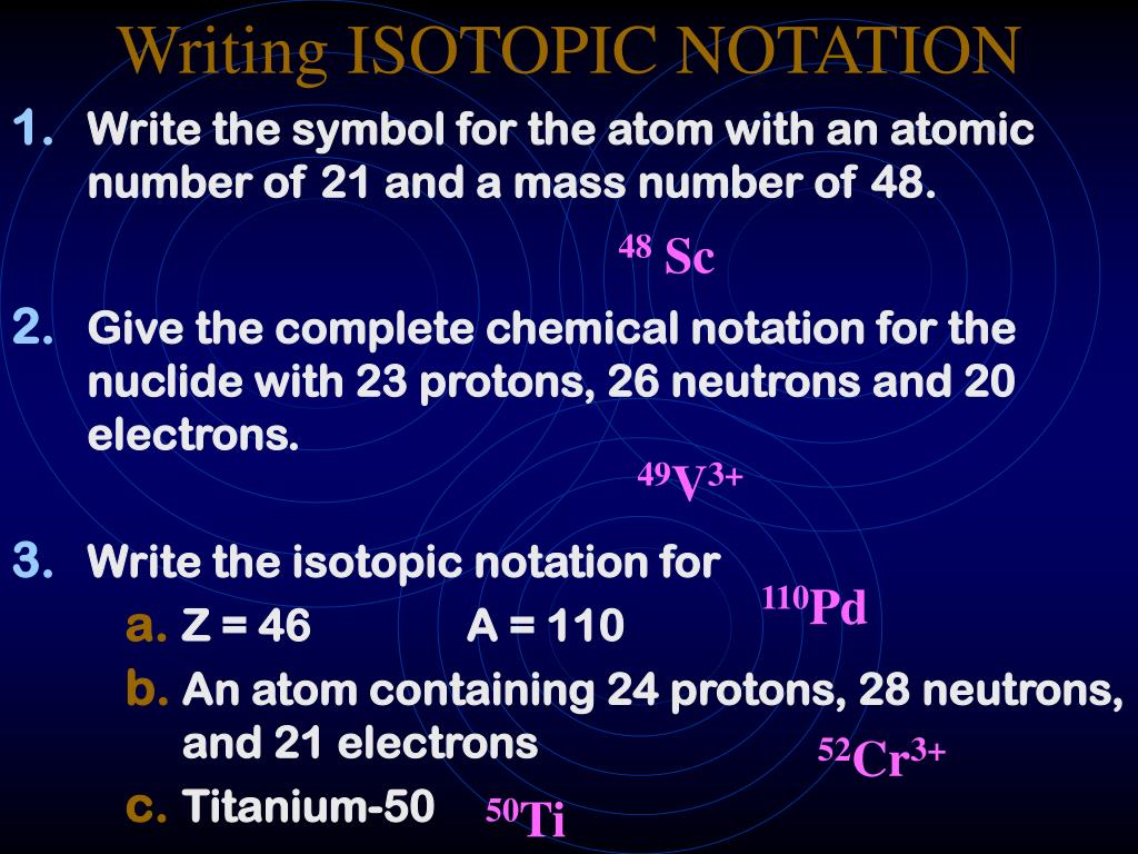 Writing ISOTOPIC NOTATION