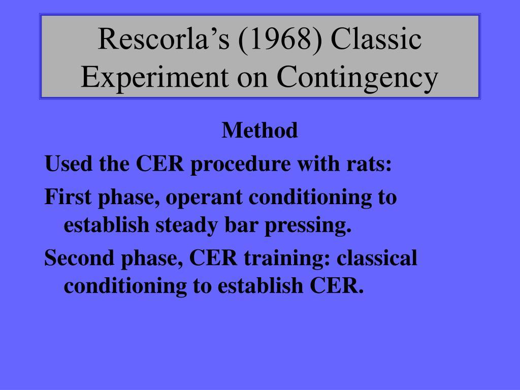 Rescorla's (1968) Classic Experiment on Contingency
