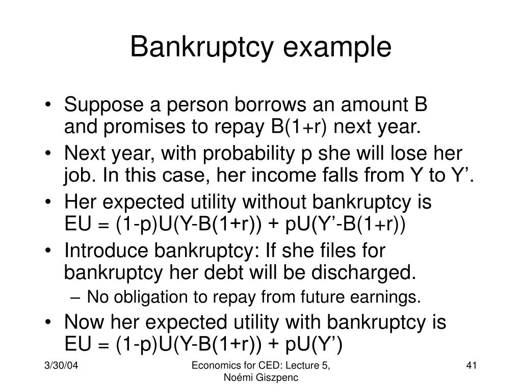 Bankruptcy example