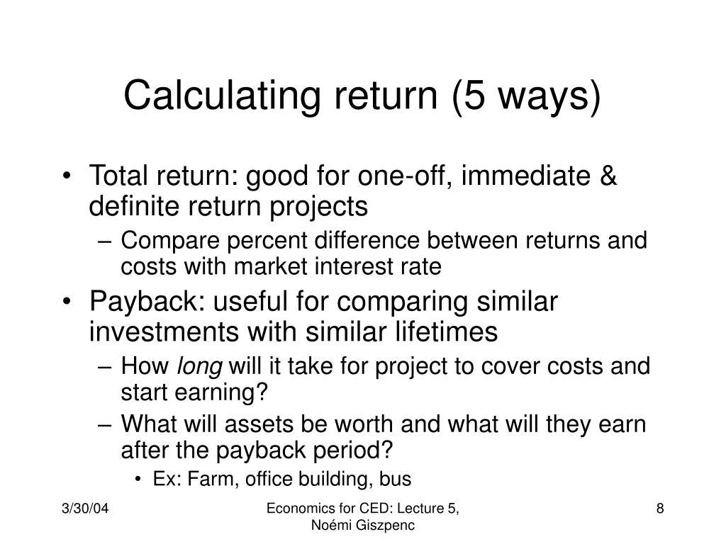 Calculating return (5 ways)