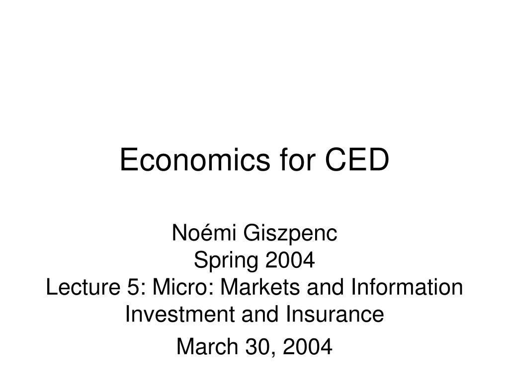 Economics for CED