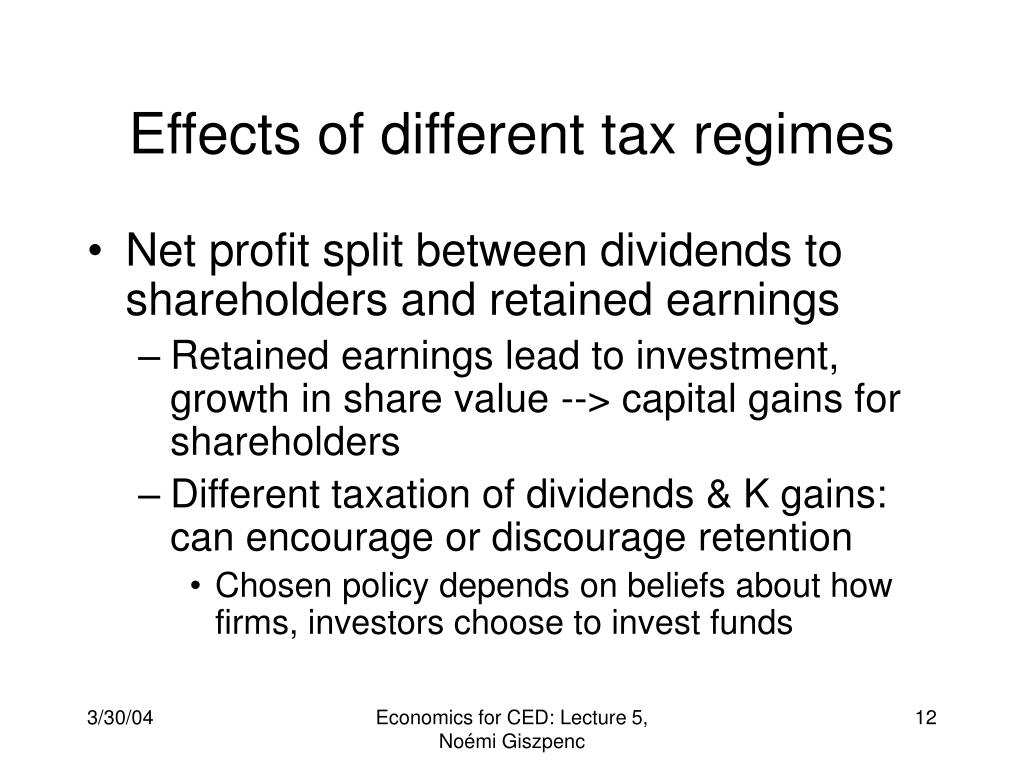 Effects of different tax regimes