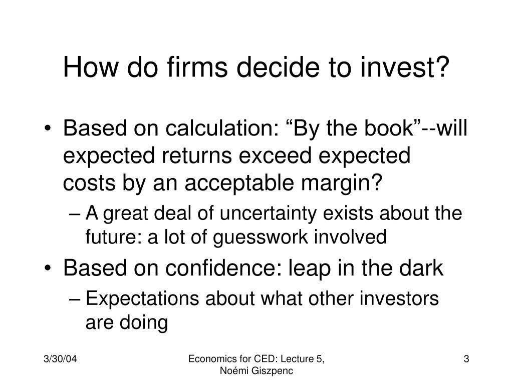 How do firms decide to invest?