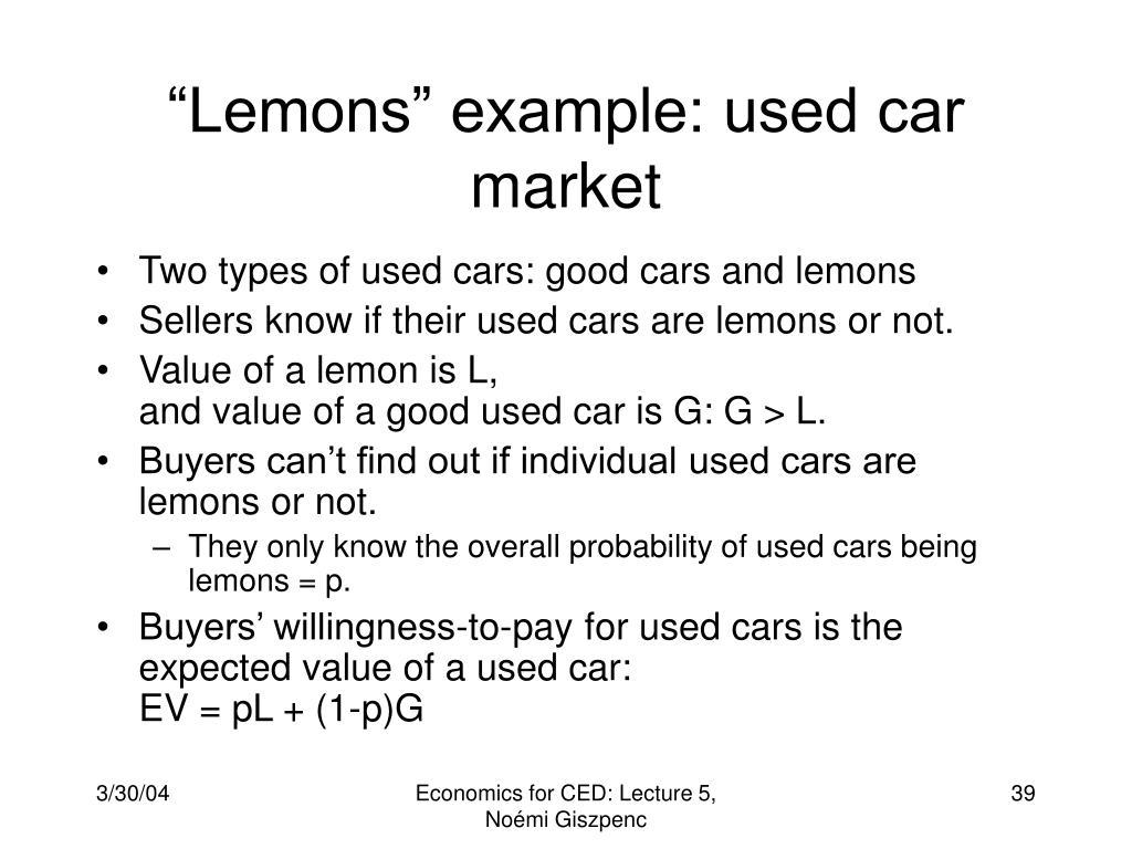 """Lemons"" example: used car market"