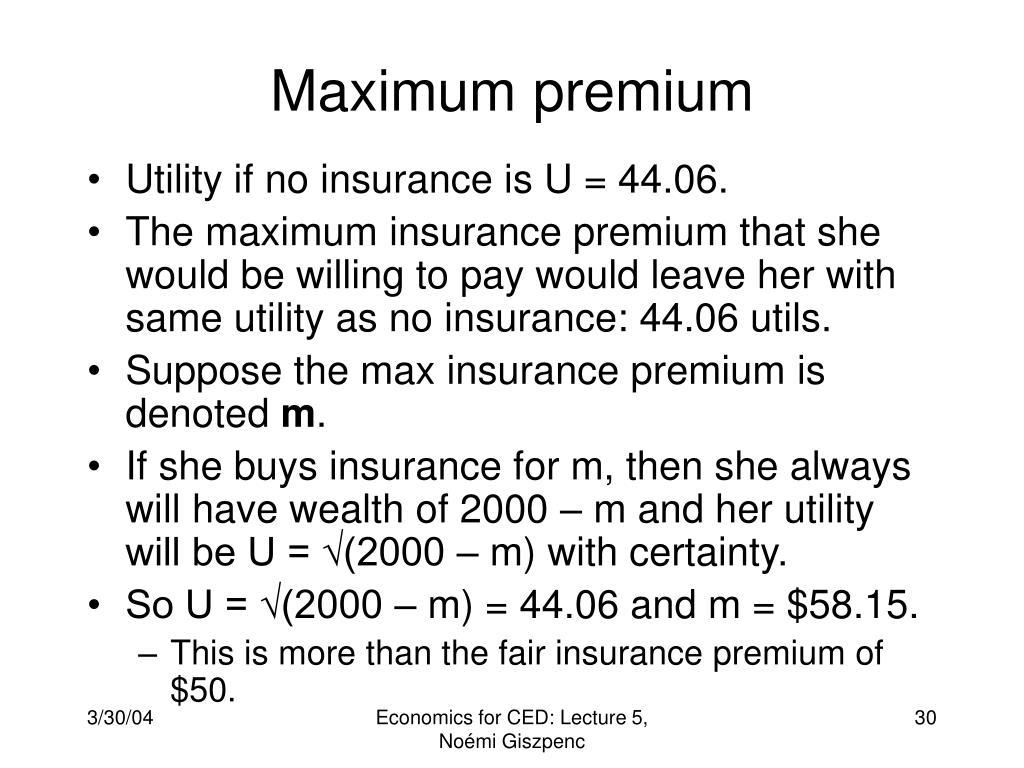 Maximum premium