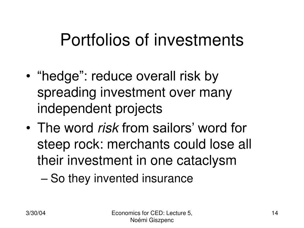 Portfolios of investments