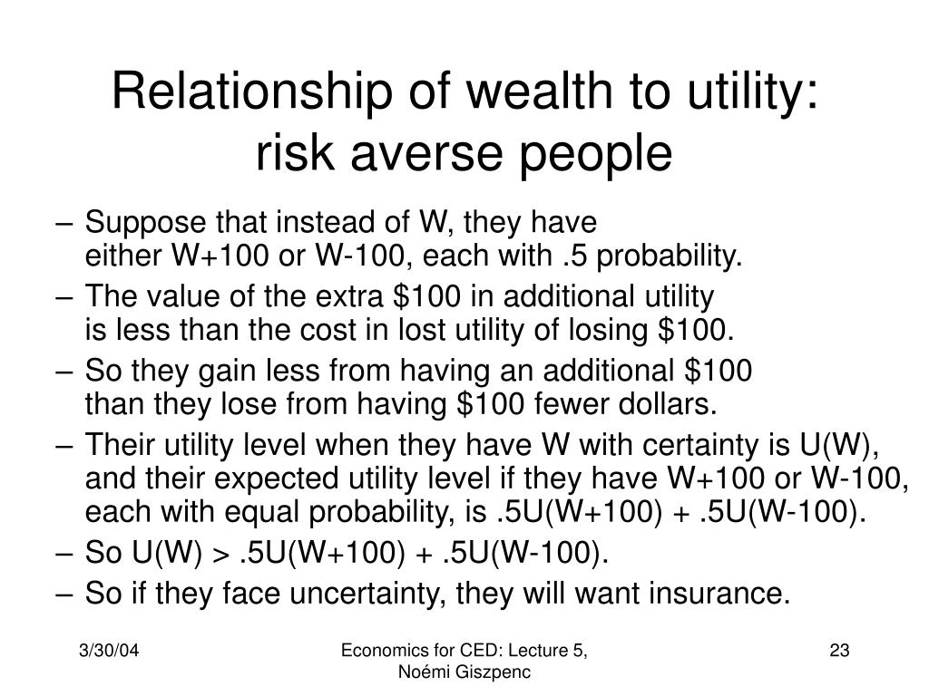 Relationship of wealth to utility: risk averse people