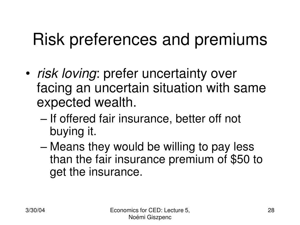 Risk preferences and premiums