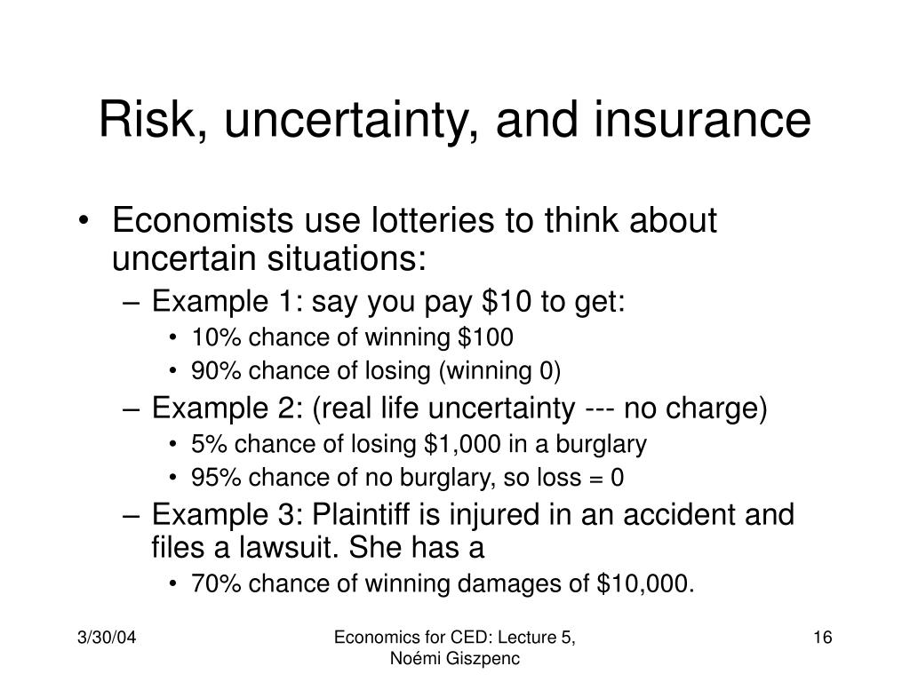 Risk, uncertainty, and insurance
