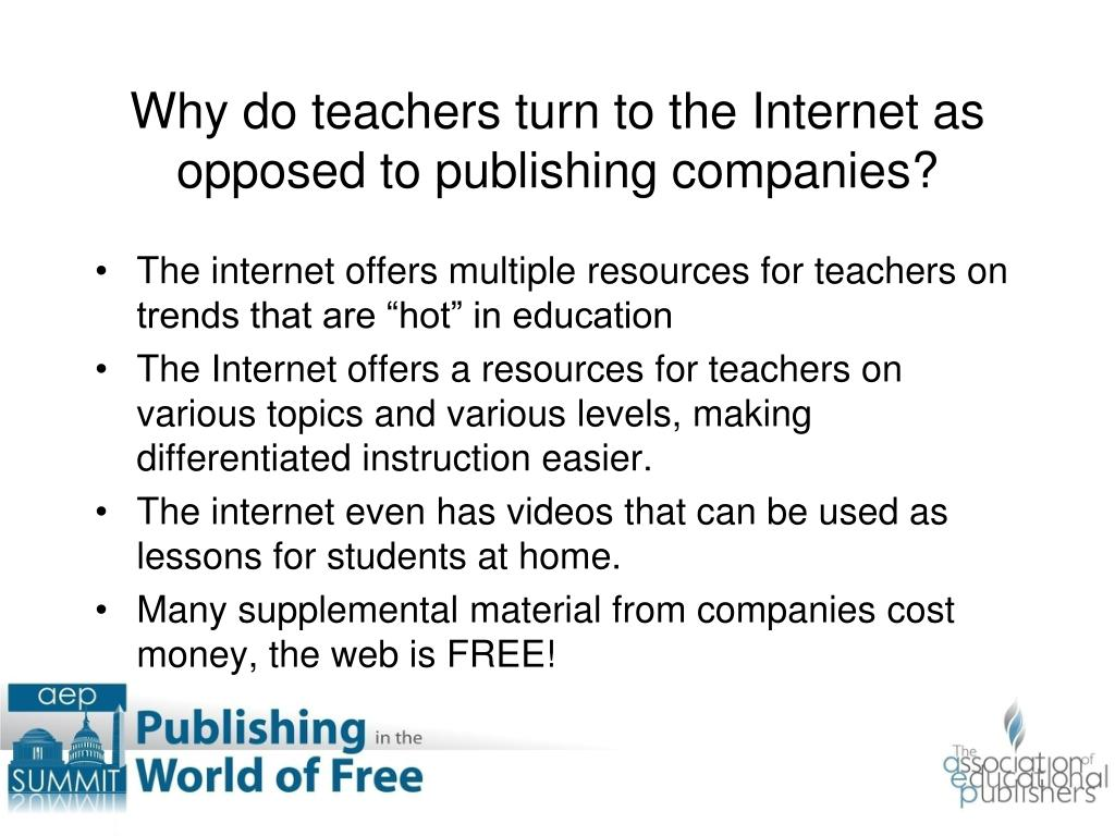"The internet offers multiple resources for teachers on trends that are ""hot"" in education"