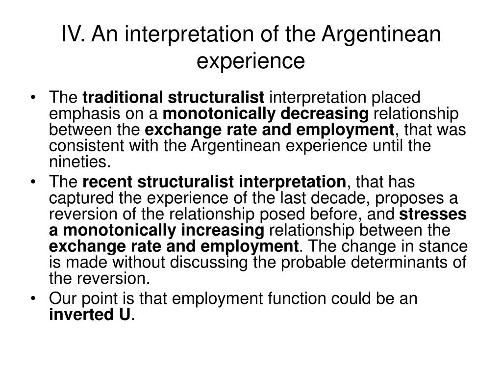 IV. An interpretation of the Argentinean experience