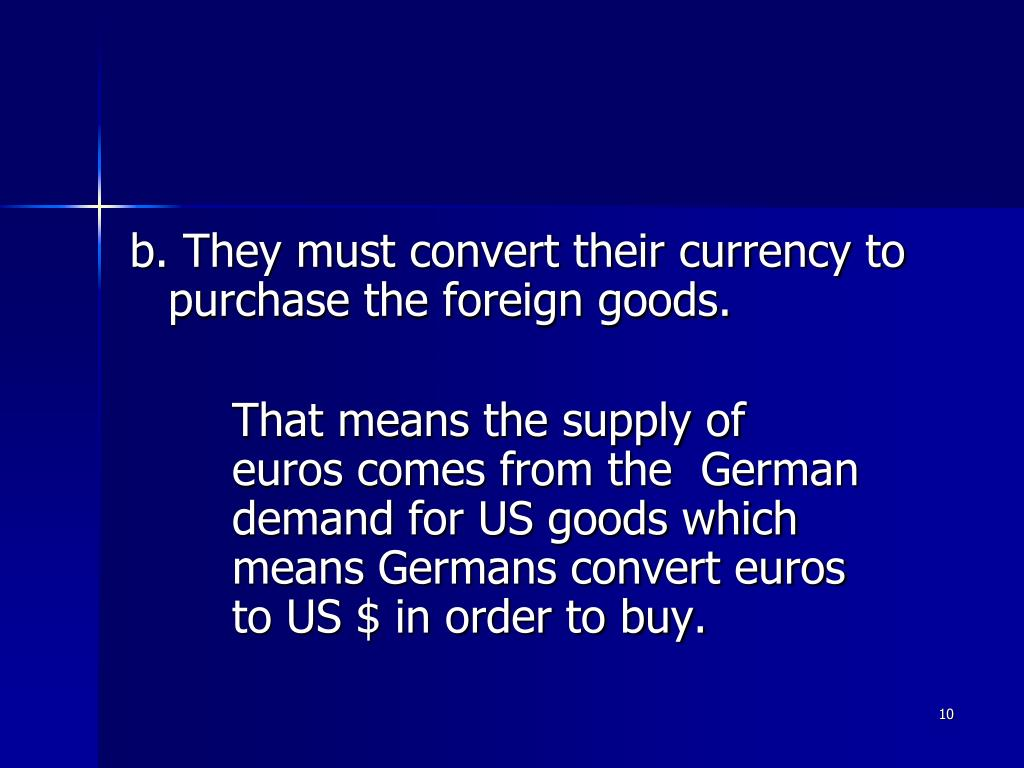 b. They must convert their currency to purchase the foreign goods.