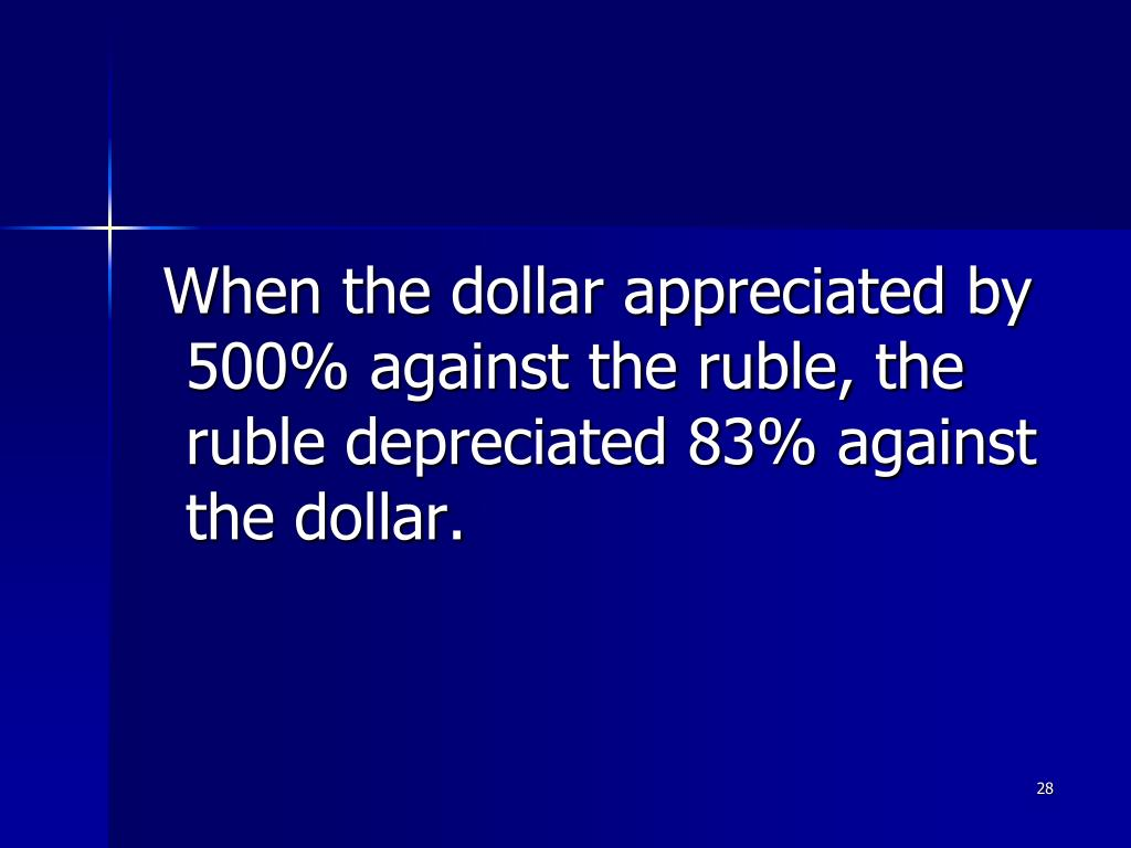 When the dollar appreciated by 500% against the ruble, the ruble depreciated 83% against the dollar.