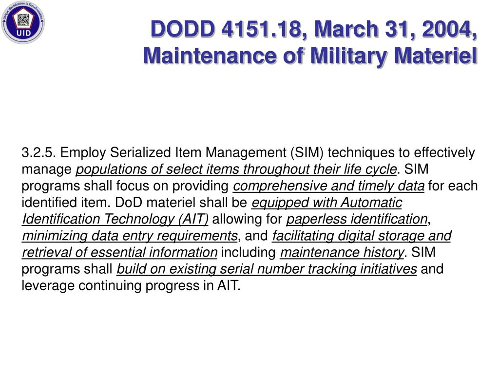 DODD 4151.18, March 31, 2004, Maintenance of Military Materiel