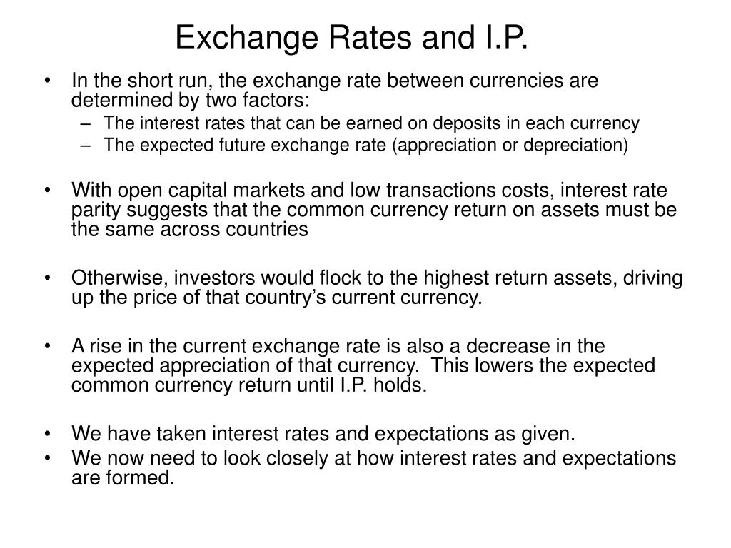 Exchange Rates and I.P.