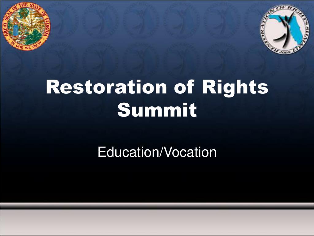 Restoration of Rights Summit