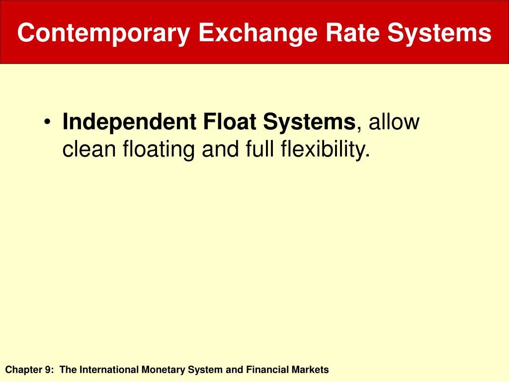 Contemporary Exchange Rate Systems
