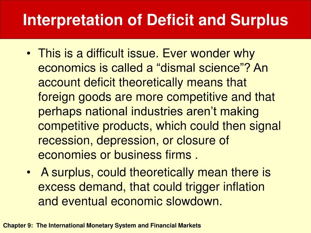 Interpretation of Deficit and Surplus