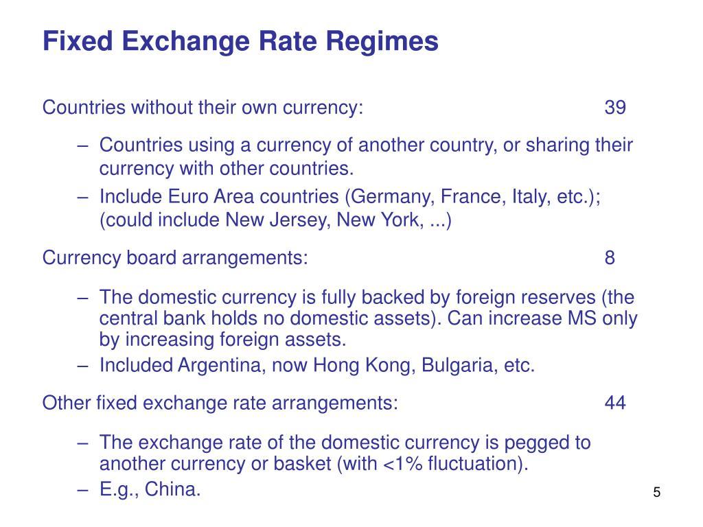 Fixed Exchange Rate Regimes