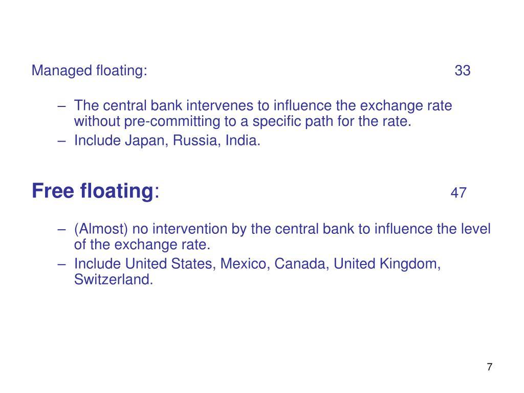 Managed floating: 33