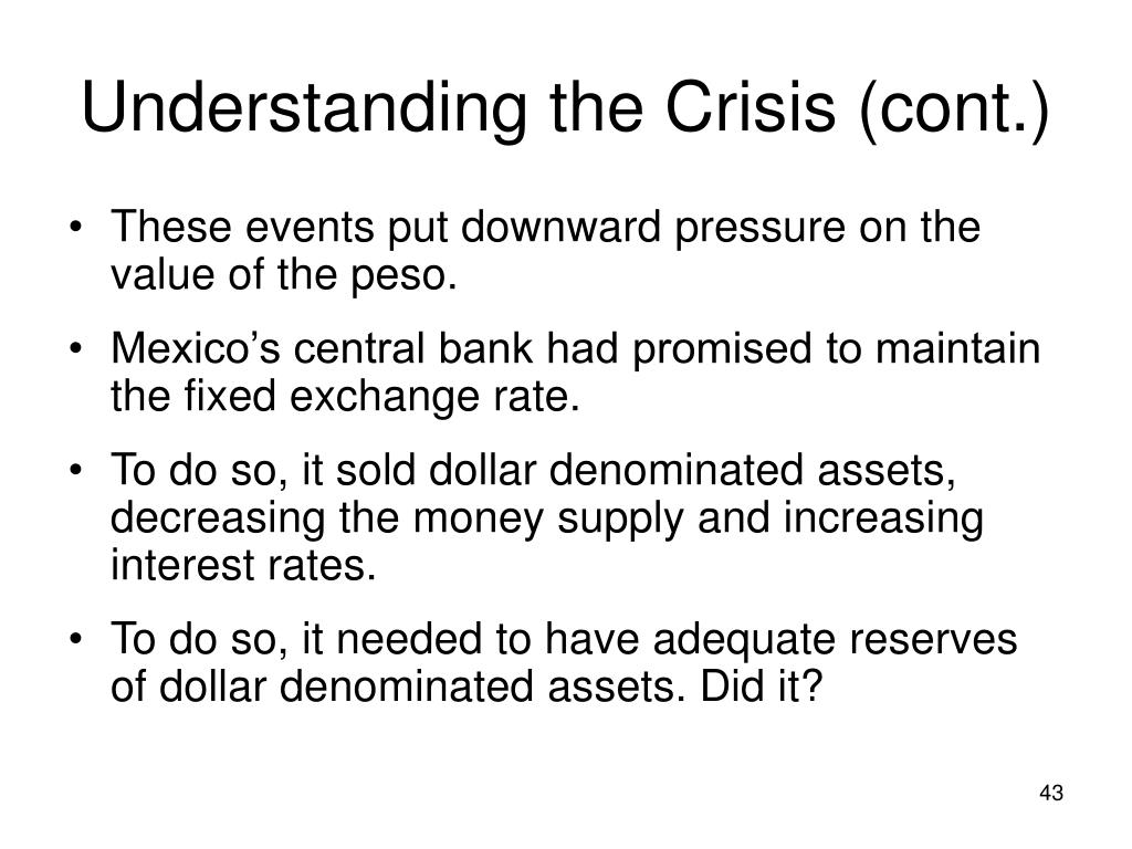 Understanding the Crisis (cont.)