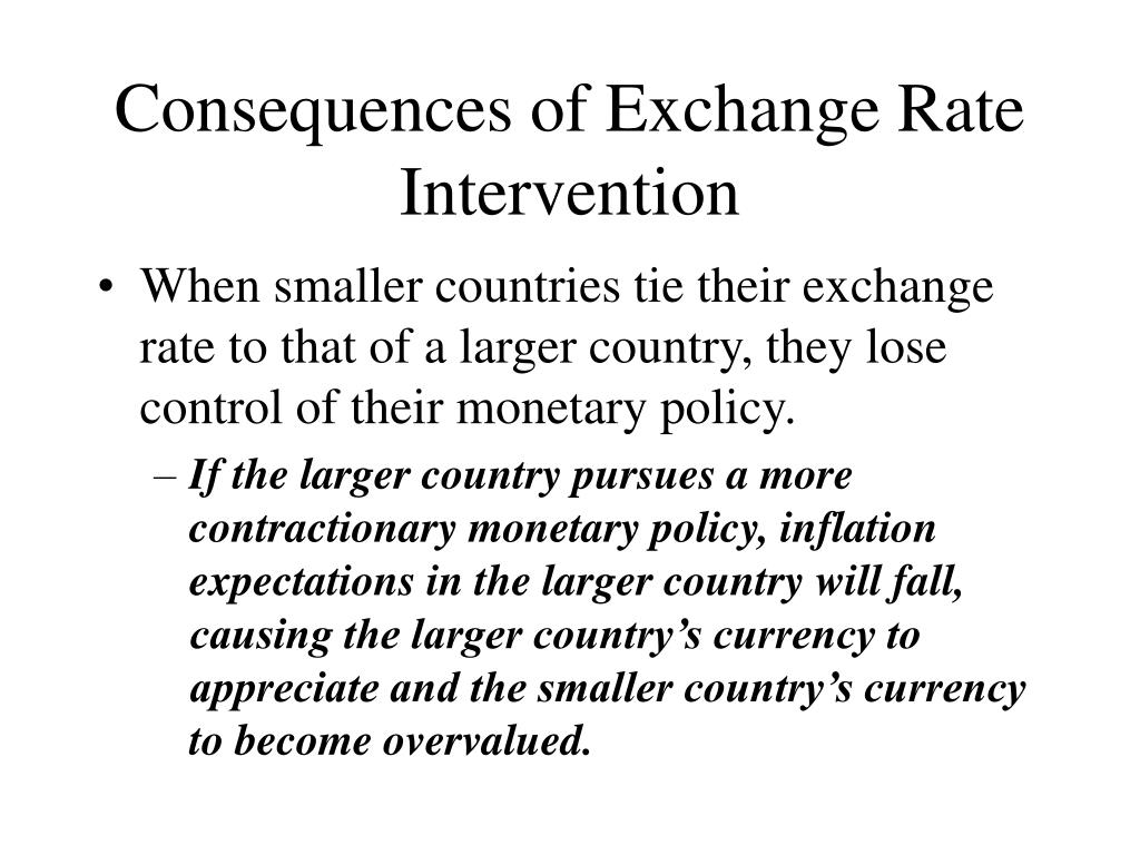 Consequences of Exchange Rate Intervention